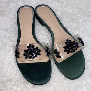 Zara satin green bejeweled open toe sandals 9